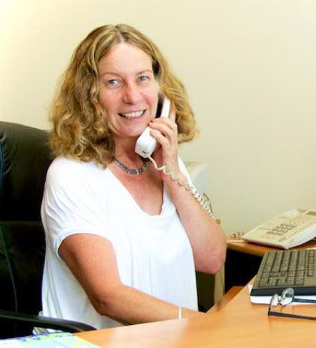Photo of Denmark Haulage employee, Karley, talking on the phone